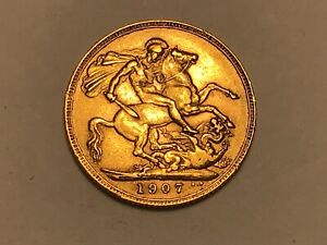 1907 London Mint Full Gold Sovereign Edward VII. Nice Example