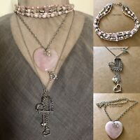 Necklace 3-Set Quartz Heart W Choker & Heart Charm Pendant OOAK Artisan USA 1654