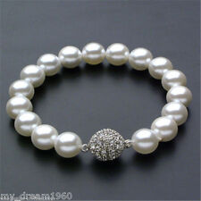 Genuine White 12mm South Sea Round Shell Pearl Bracelet 7.5'' AAA