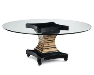 """72"""" Dia. Glass Top Dining Table Glass Panel Insets White Ebony Pedestal Base"""