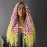 Afro Curly Synthetic Lace Front 3 Tone Pink Ombre Yellow Hair Wig Black Women