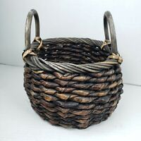 """Woven Coiled Twisted Basket Planter Two Handles 9"""" × 7"""" Boho Jungalow"""