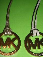 "Michael Kors Handbag Charm/Key Fob Silvertone w/Pearl Gray Leather 6""-6.5"" long"