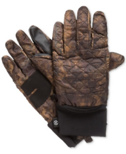 Isotoner Signature Men's Quilted Gloves in Brown Camoflage, Size S/M, Retail $55