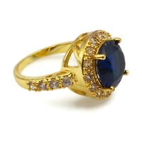 Vintage Bright Gold Tone Sapphire Blue & Crystal Clear Glass Rhinestone Ring 5.5