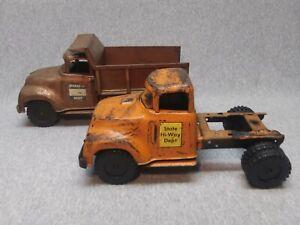 1957 Tonka Hi-Way Dept. Hydraulic Dump Truck Lowboy round fender cab pair custom