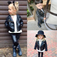 Autumn Winter Girl Boy Kids Baby Outwear Leather Coat Short Jacket Clothes HOT