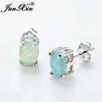 Cute Green,White,Blue Oval Cut Fire Opal 925 Silver Stud Earrings Womens Jewelry