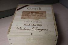 Very Rare Groth Reserve 2012 Cabernet Sauvignon Wood Wine Box or Crate