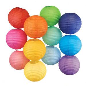 "8-12"" Round Pom Paper Lanterns Lamp Shade Wedding Party Hanging Decoration UK"