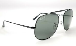Ray-Ban GENERAL RB3561 002/58 Black / Green Polarized Aviator Sunglasses 57 mm
