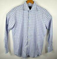 David Donahue Trim Fit Plaid Mens Dress Button Shirt Size 16.5 34/35