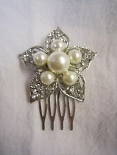 Women Flower Crystal Rhinestone Pearl Hair head Pin comb jewelry wedding party