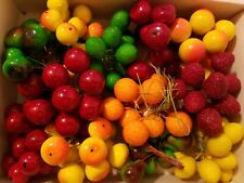 144 Plastic Artificial Fruit Berries Wire Picks Stems Floral Crafts Wreaths VTG