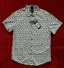 Cactus New York On The Road Bear Paw Print Shirt Mens Size M White Slim Fit