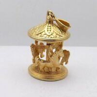 14K Gold 3D Spinning Carousel Merry Go Round Charm Pendant 8.4gr