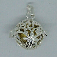 BALI 925 HARMONY CHIME BALL PENDANT IN STERLING SILVER WITH CHAIN