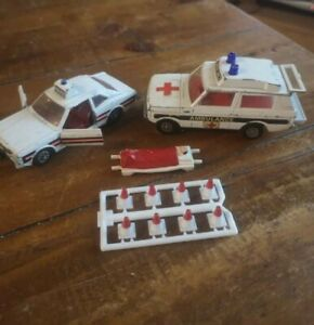 Vintage Corgi  Ambulance - Vigilant Range Rover & Police car. Cones and patient.