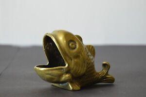 Vintage Brass Fish Dish Molded Ashtray Cigar Rest Soap Holder Trinket England