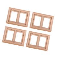 4pcs 1/12 Unpainted 2-Pane Window Frame Dolls House Any Room Decor Accessory