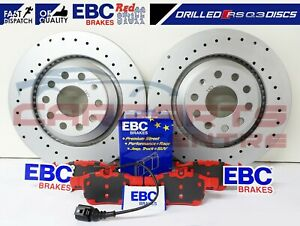 FOR AUDI RSQ3 RS Q3 REAR COATED DRILLED BRAKE DISCS EBC REDSTUFF BRAKE PADS SET