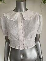 Influence Tea Blouse Top Size 8 & 12 White Shirred Crop Collar Poplin Dobby HA65