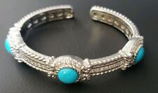 Authentic Judith Ripka Sterling Silver Turquoise Cuff Bracelet