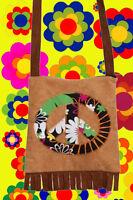 A100✪ 60er 70er Jahre Peace Tasche Festival Hippie Boho mit Fransen Flower Power