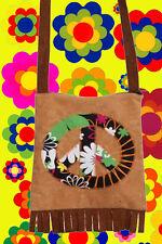 A143✪ 60er 70er Jahre Peace Tasche Festival Hippie Boho mit Fransen Flower Power