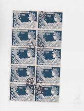 portugal 1913 Sc Ra3 block of ten,used n2316