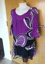 Ladies MONSOON Dress Size 12 SILK Tunic Purple Black