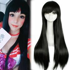 Sailor Moon Sailor Mars Cosplay Wig Black Long Straight Bangs Anime Hair Wigs