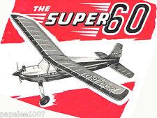 "Model Airplane Plans (RC): Vintage KeilKraft Super 60 63""ws for 2.5cc engine+++"
