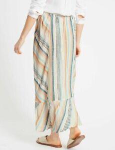 """new M&S Summer Long Linen Maxi Skirt Stripes SIZE 10 EU 38 Waist  32"""" - 36"""""""