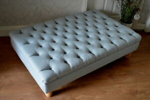 Extra Large Chesterfield Deep Button Footstool in Duck Egg Blue Linen Fabric