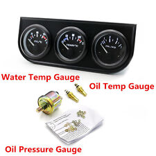 52mm Oil Temp Water Temp Oil Pressure Triple Gauge Kit Car Truck Pointer Meter