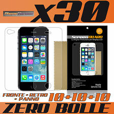 30pz PELLICOLA per IPHONE 5S FRONTE RETRO PANNO 5 S PROTETTIVA DISPLAY per APPLE