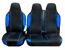 PEUGEOT BOXER VAN SEAT COVERS BLACK+BLUE (FABRIC) 2+1 SINGLE & DOUBLE