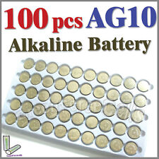 100 pcs AG10 LR54 SR54 SR1130W 189 L1130 Alkaline Button Coin Cells Battery