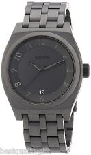 NEW-NIXON MONOPOLY MATTE GUNMETAL TONE STAINLESS STEEL WATCH+DATE A3251062+BOX