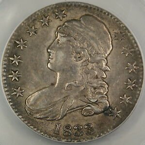 1833 Bust Silver Half Dollar, ANACS AU-50
