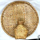 Vintage XL Paul Marshall Stained Wicker Rattan Bamboo Wall Basket Tray Vase Boho