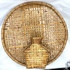 "Vintage Paul Marshall Stained Wicker Bamboo Wall Basket Tray & Vase 23.5"" Boho"