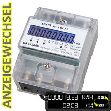 3 Phasen 400V Dreh- Stromzähler digital S0 LCD 3x20(80)A  mit Anzeigewechsel