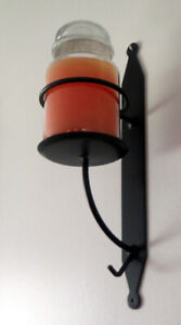 """Amish Hand Made Wrought Iron Strap 4"""" Jar Candle Strap Sconce 15-1/2"""" x 4-3/4"""""""