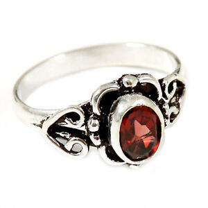 Garnet Faceted Solid 925 Sterling Silver Solitaire Nice Ring Jewelry GESR186J