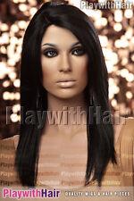 Sleek Straight Heat Friendly Wig MONO PART Soft Black