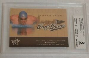 BGS 8 NM-MT 2004 Leaf Rookies & Stars Michael Phelps Fans Of The Game Card FG-2