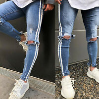 Men's Ripped Jeans Skinny Denim Pants Destroyed Frayed Distressed Long Trousers