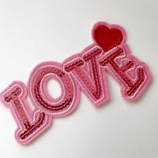 Beautiful Large Sequined PINK LOVE Iron / Sew On Patch